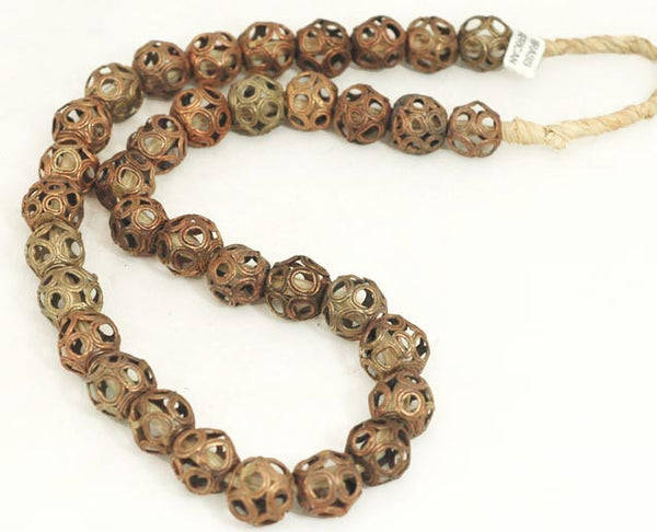 African Hollow Circle Raffia Brass Bead Strand BA-MA65S