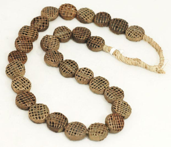 African Cross Hatch Circle Disc Raffia Brass Bead Strand BA-MA77