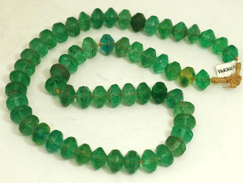 Ethiopian Green Glass Large Bi-Cone Bead BA-VG2