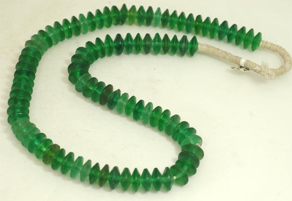 Vintage Ethiopian Vaseline Green Glass Small Bi-Cone Bead BA-VGD