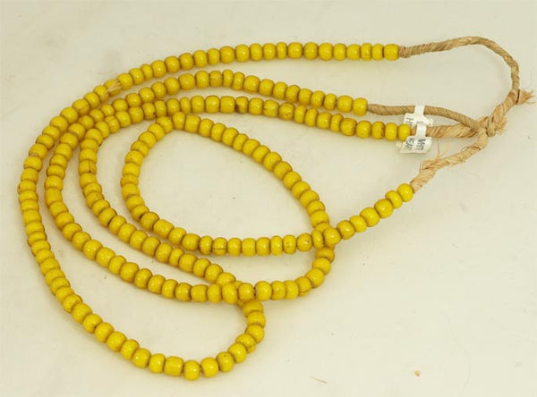 African Yellow Glass Round Bead BA-WHY5