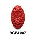 Carved Flat Oval Cinnabar Bead BCB1007