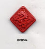 Diagonal Dragon Cinnabar Bead BCB304