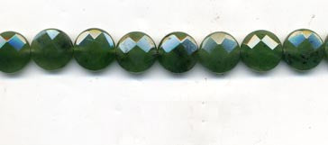 Canadian Jade Faceted Coin Beads BCJF2-14