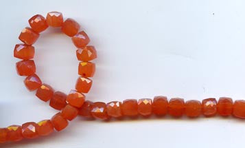 Carnelian Faceted Cube Beads BCNF404