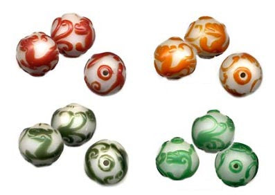 20mm Dragon Carved Glass Bead BGC170 - 4 Colors