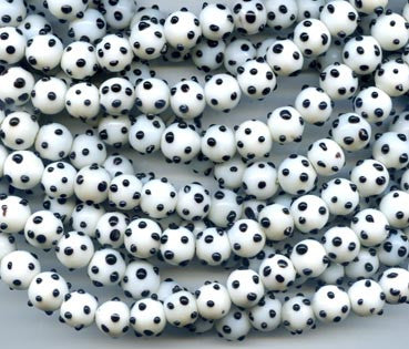 10mm White and Black Bump Glass Bead BGH730