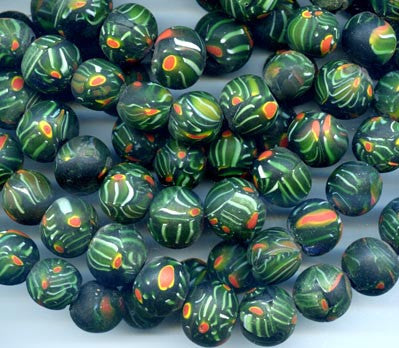 18mm Dark Green Glass Bead BGH732F