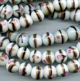 15mm White and Pink Glass Bead BGH734