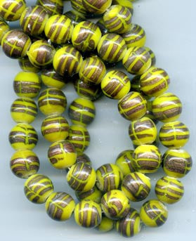 12mm Canary Yellow and Gold Striped Glass Beads BGH738