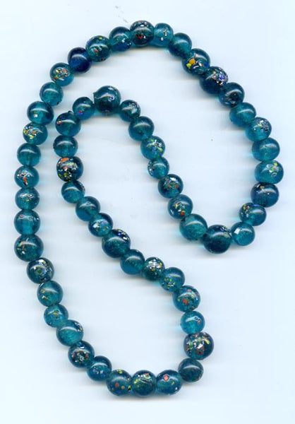 12mm Teal Textured Glass Beads BGH740