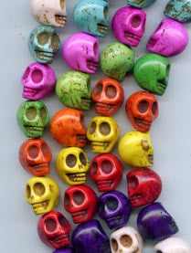 Multi Colored Extra Large Skull Beads Strand