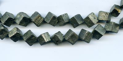 Pyrite Faceted Cube Beads BMR404D
