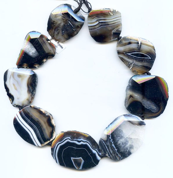 Black Banded Polished Agate Slab Bead Strand BOBFN42D