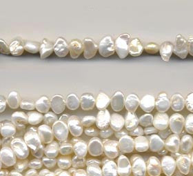Small White Pearl Nugget Beads Strand BPL152WH
