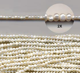Small White Pearl Nugget Beads Strand BPL168WH