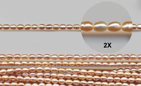 Apricot Pearl Rice Shaped Beads Strand BPL210AP
