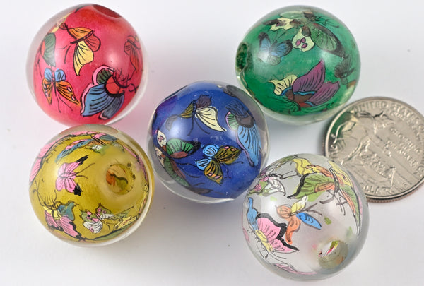 Butterfly Reverse Painted Glass Beads BRG203 - 5 Colors