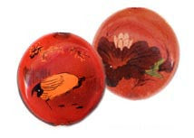 Bird Reverse Painted Glass Beads BRG213 - 2 Colors