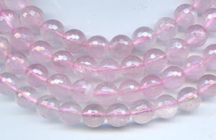 10mm Faceted Round Rose Quartz Beads