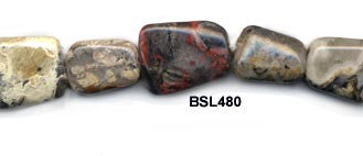 Silver Leaf Pebble Beads BSL480