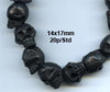 Black Medium Wood Skull Bead Strand BWD321M
