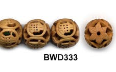 Yellow Willow Wood Buddha Word Bead BWD333