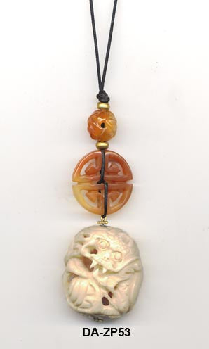 Carved Bone and Ccarnelian Pendant