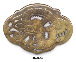 Dragon Lock 2-Hole Soo Chow Jade Pendant Bead - 2 Color