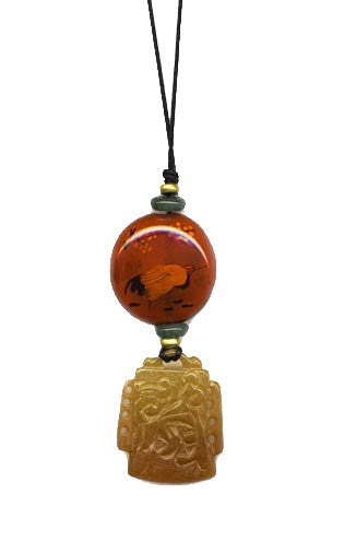 Brown Soo Chow Jade and Glass Pendant