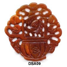 Brown Jade Flower Basket Pendant Bead DSA09