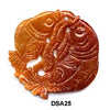 Brown Jade Double Fish Pendant Bead DSA25