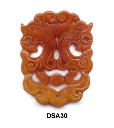 Brown Jade Twin Dragon Pendant Bead DSA30