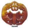 Brown Jade Twin Tiger Pendant Bead DSA468