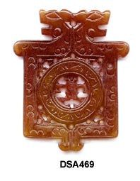 Square Double Dragon w/ Man Soo Chow Jade Pendant Bead - 3 Colors
