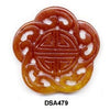 Brown Jade Flower Longevity Pendant Bead DSA450A