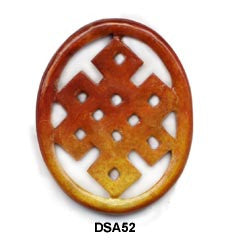 Brown Jade Oval Eternal knot Pendant Bead DSA52