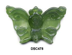 Butterfly Soo Chow Jade Pendant Bead - 3 Colors