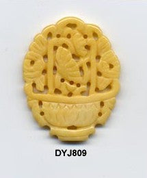Flower Basket Yellow Jade Pendant Bead DYJ809