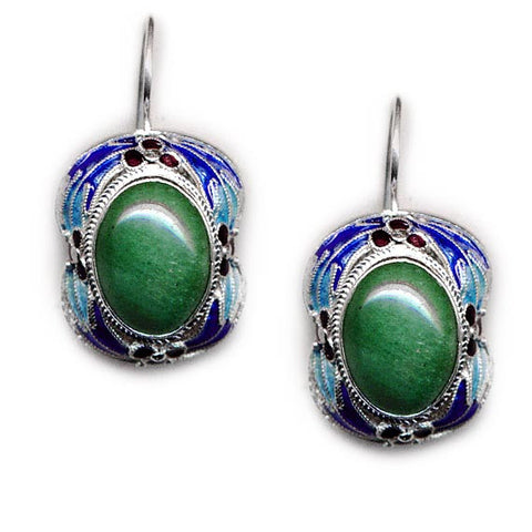 Sterling Silver Decorative Enamel Hook Earrings