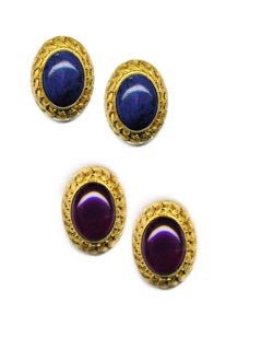 Oval Filigree Vermeil Clip On Earrings