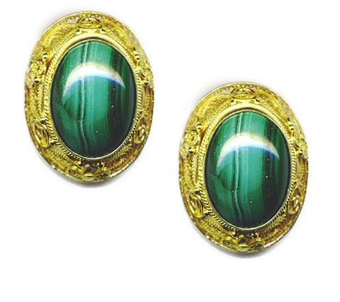Malachite Vermeil Clip On Earrings