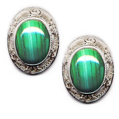 Malachite Sterling Silver Clip On Earrings