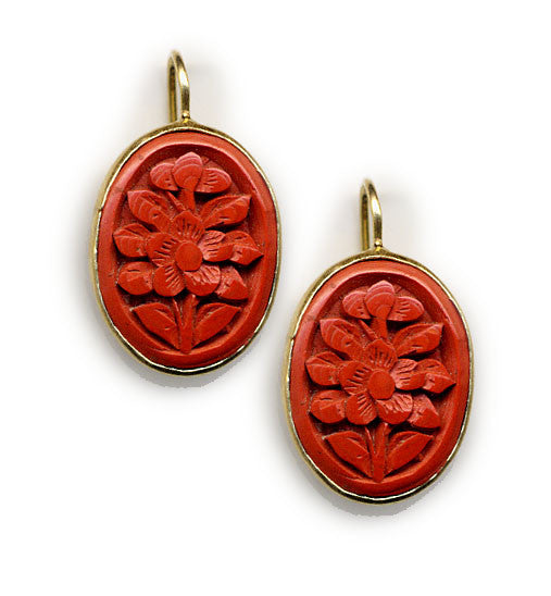 Flower Cinnabar Rim Hook Earrings