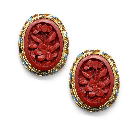 Flower Cinnabar Enamel Rim Clip On Earrings