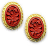 Flower Cinnabar Rim Clip On Earrings