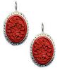 Flower Cinnabar Enamel Rim Hook Earrings
