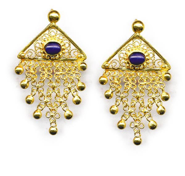 Vermeil Lapis Chain Link Earrings