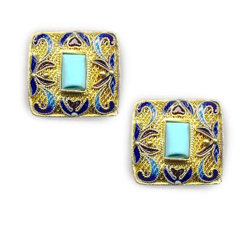 Square Decorative Enamel Vermeil Earrings