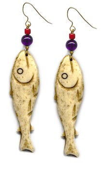 Bone Fish Earrings of America Northwest Native Designs
